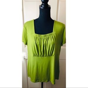 East 5th lime green gathered bodice top
